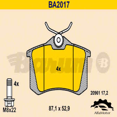 BA2017 BARUM колодки дисковые з.\ VW Golf III 2.0-2.9/1.9TDi 96-99/IV 1.6 00>
