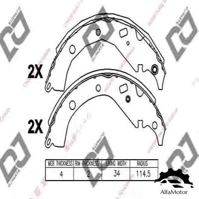 BS1239 DJ PARTS колодки барабанные!\ Toyota Corolla/Probox/Allion 1.3-2.0 01>
